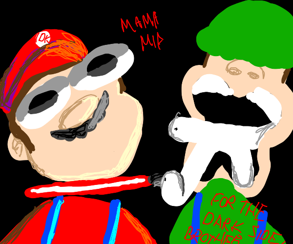 mario and luigi have a lightsaber duel