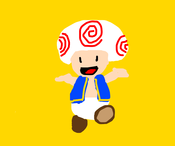 Toad but his hat has swirls and not polkadots