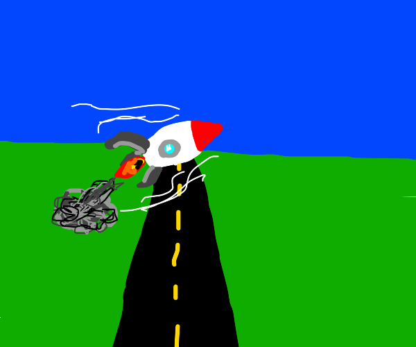 A Rocket jumping over the Road