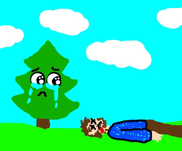 Tree mourns dead man