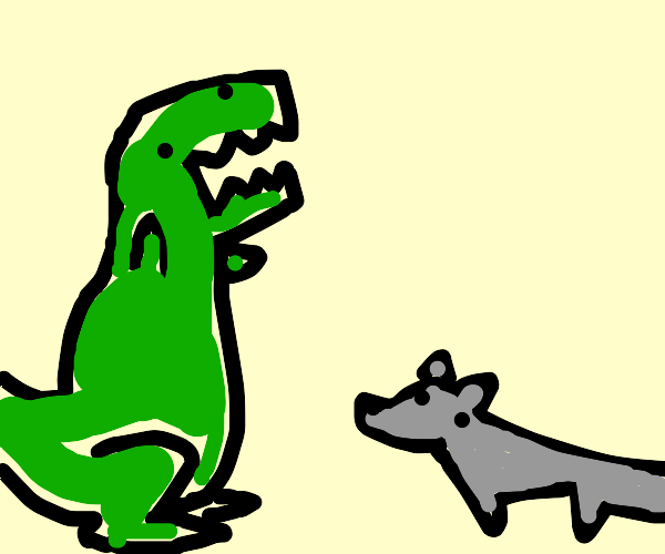 Dinosaur and Wolves