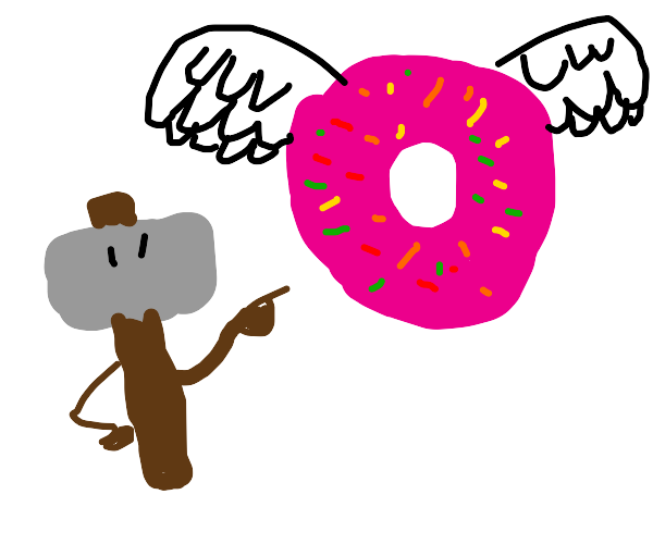 Homer pointing at a flying donut?