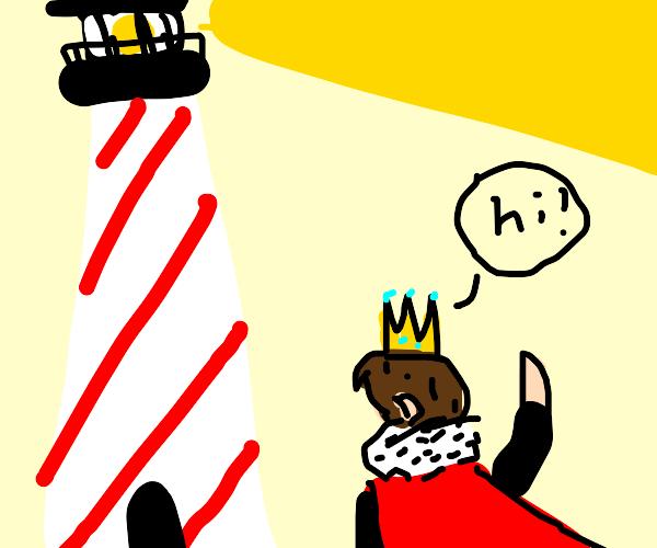 King visit a lighthouse