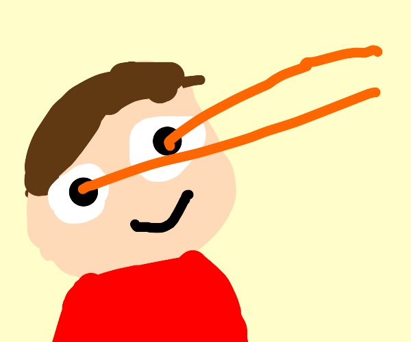 Man shoots orange lasers from his eyes