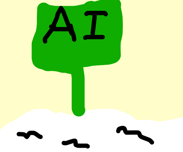 A green sign that says AI and white mats