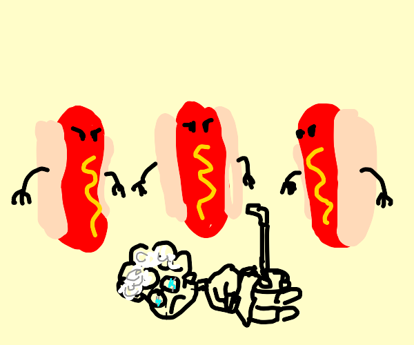 angry hotdogs surrounding an old woman