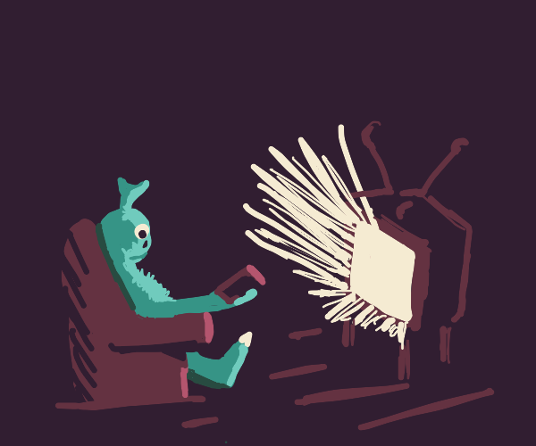 Alien watching very bright Television