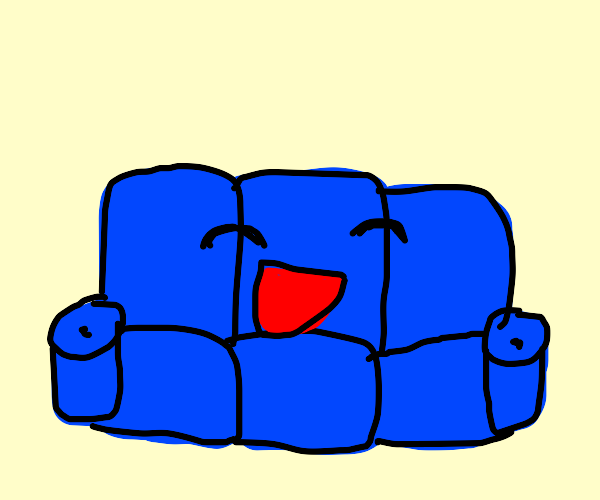 Sentient blue couch but it is happy