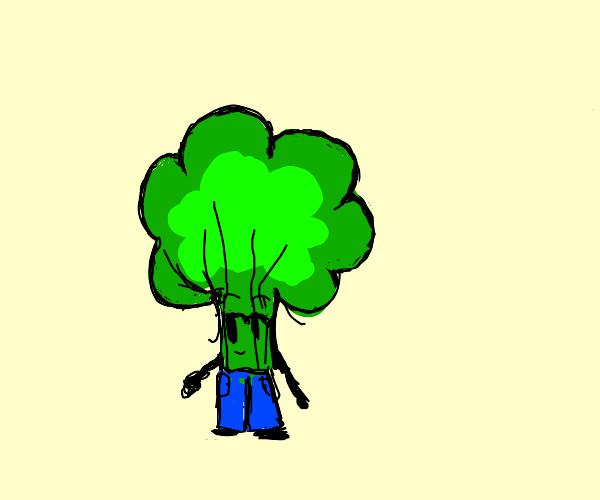 broccoli wearing pants