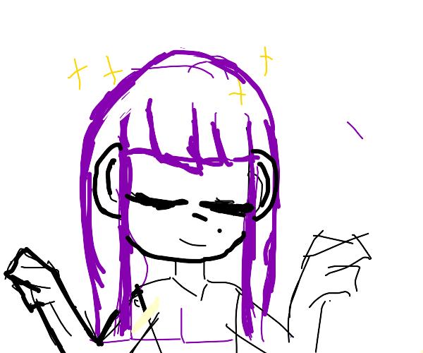 Girl with beautiful purple hair