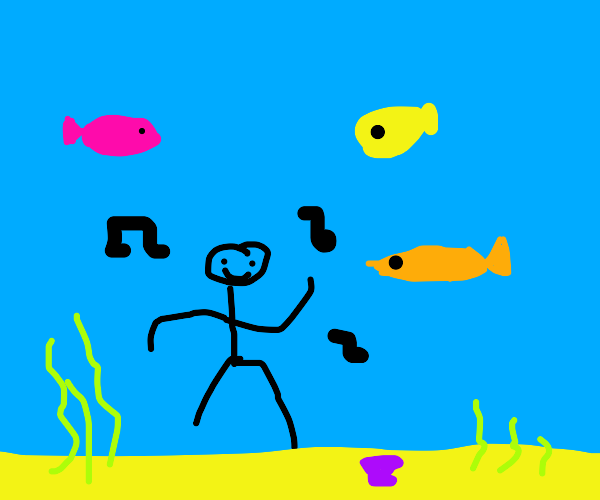 dancing underwater with fish friends