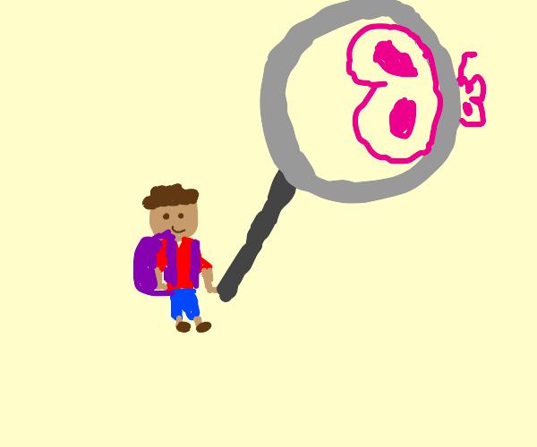 schoolboy w/ a comically big magnifying glass