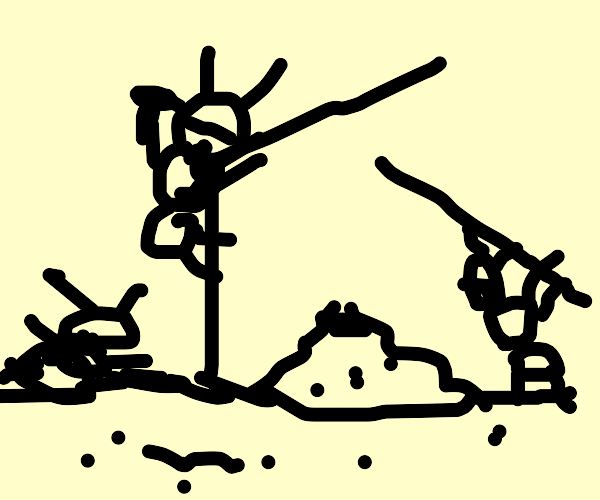 Ants making an anthill tent