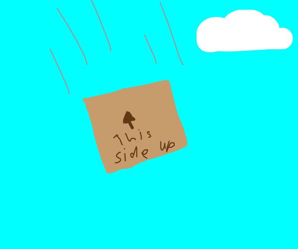Free-falling cardboard box