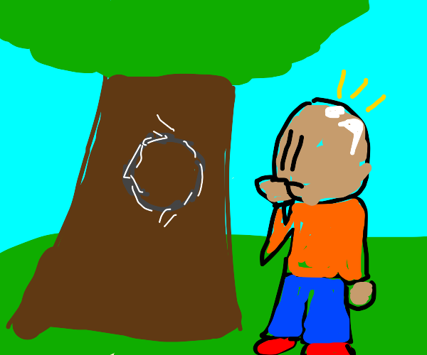 Bald man sees a letter O carved into a tree