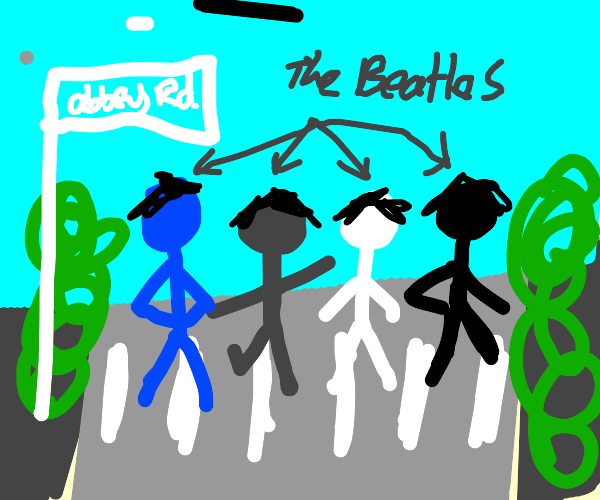 The Beatles crossing Abbey Road