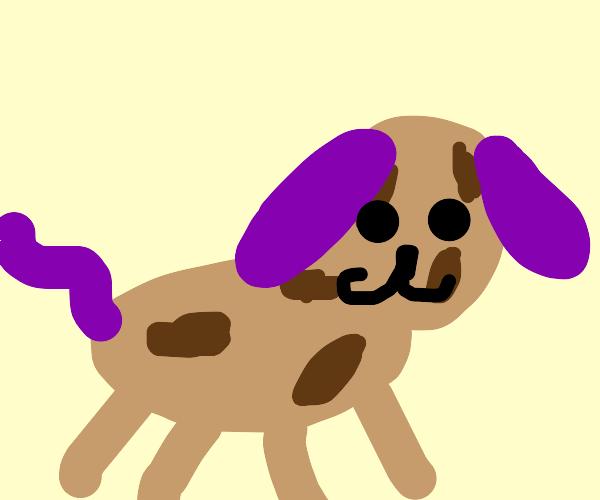 potato dog with purple ears + tail