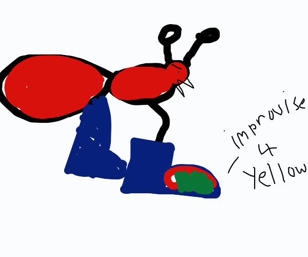 Fire ant (red ant) in blue shoes with yellow