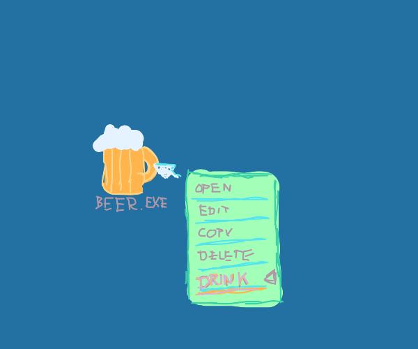 computer drinking beer