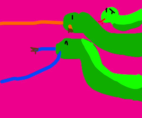 Snakes eating wires