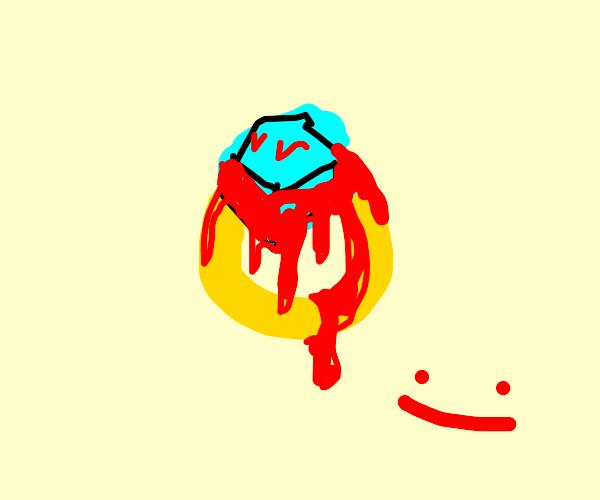 A diamond ring drips blood.