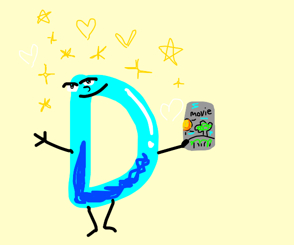 Drawception with face holding movie dvd