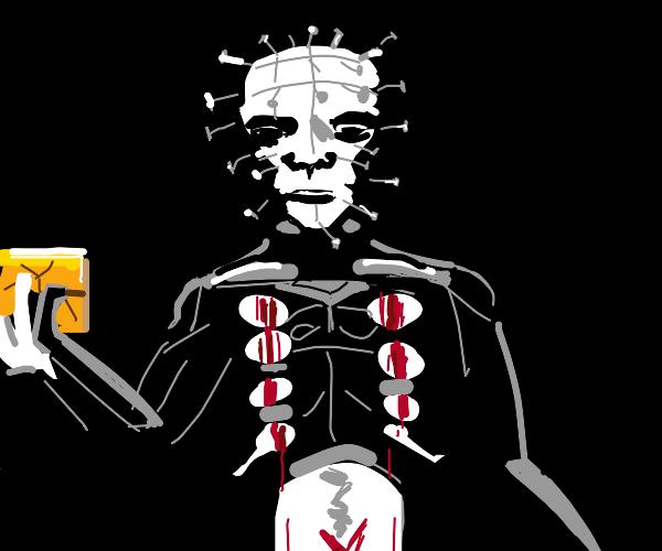 Pinhead plays with a Rubik's cube