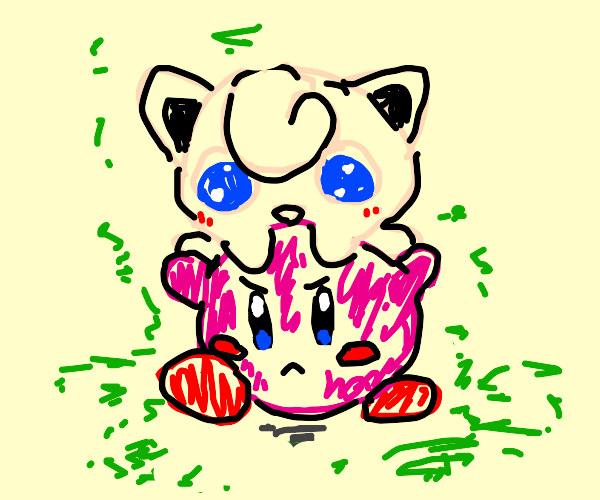 Kirby carrying jugglypuff