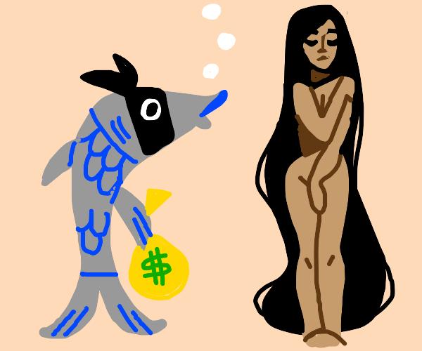 Thief fish staring at naked womann.