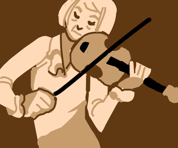 old lady playing violin