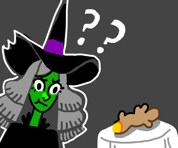 Confused witch looks at a ginger root