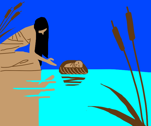 Baby Moses in basket being released on Nile