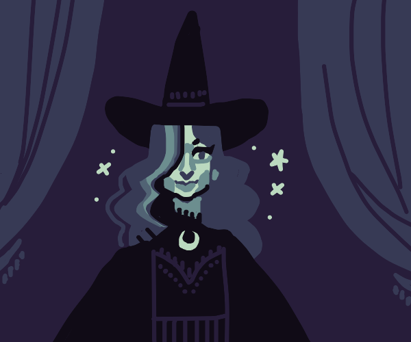 Cute witch with blinding bangs