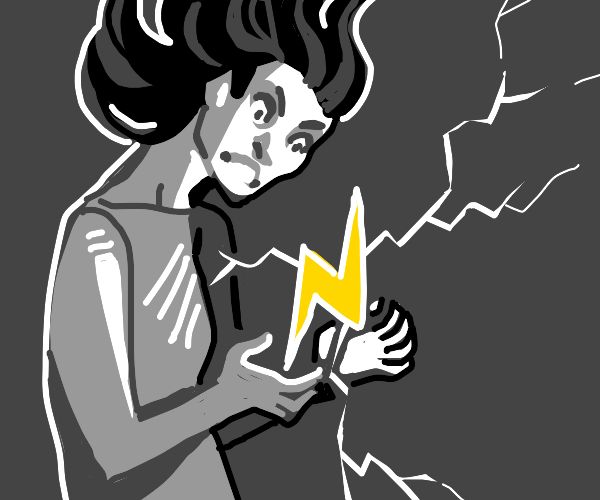 ah a girl holding electricity angrily