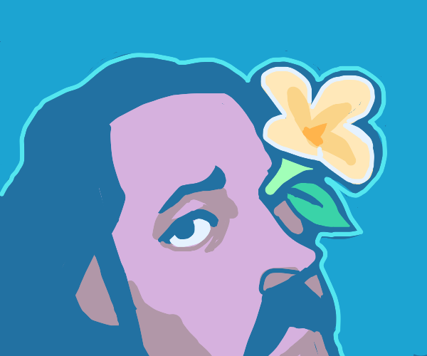 Flower growing out of a man's eye