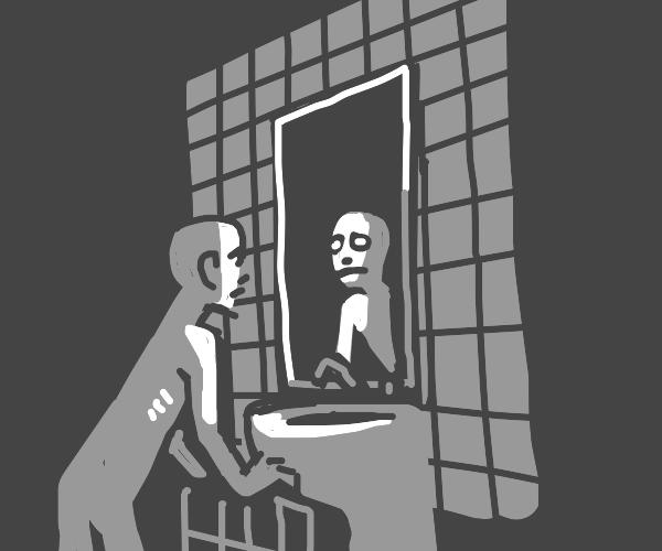 short pale man looks in a bathroom mirror lol