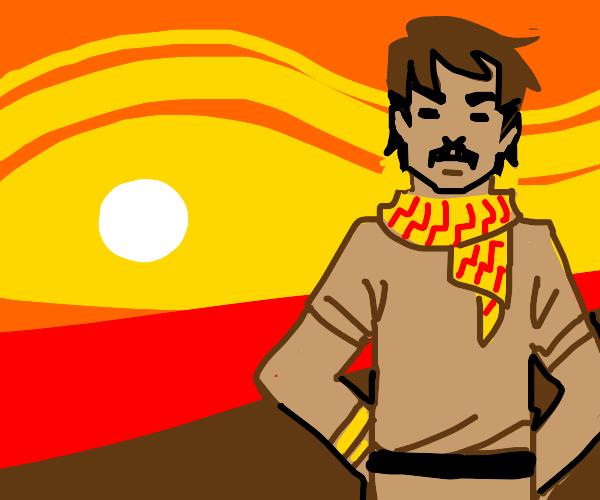 Brown hair man in the desert