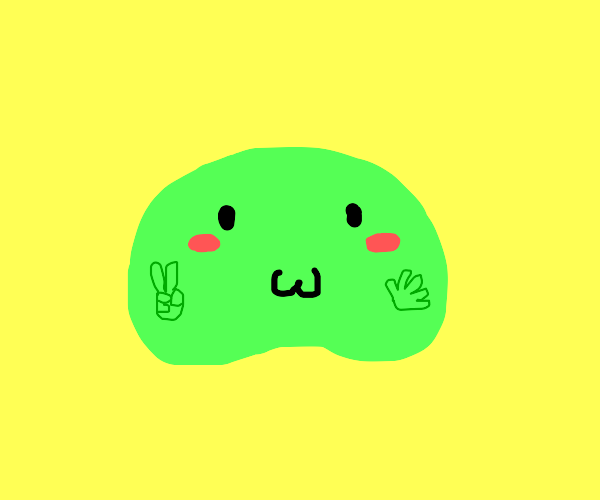 Blushing :3 green Gumbo flashes peace sign