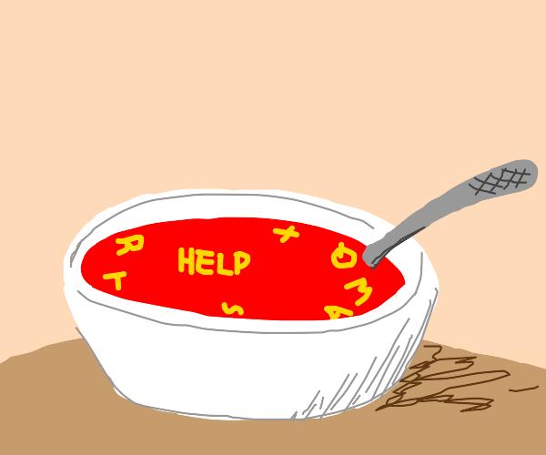 alphabet soup spells out a message