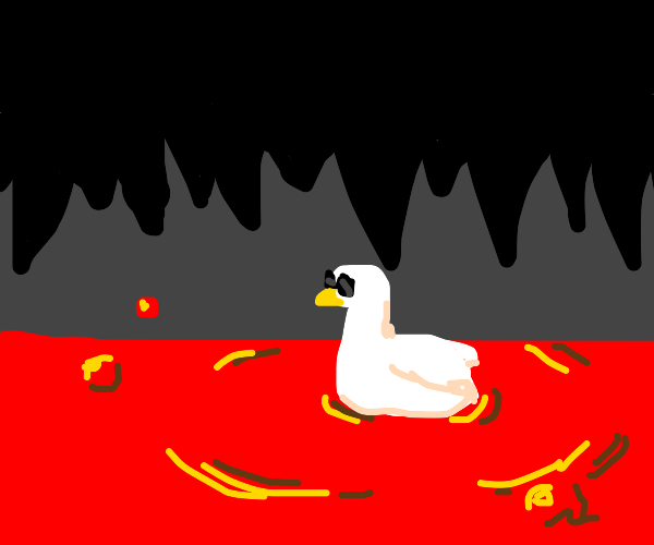 Duck chilling in lava with cool shades