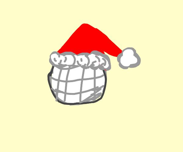 Christmas Islandball with Santa hat