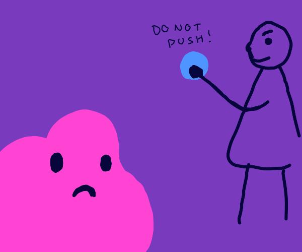 man hits blue button, makes pink blob sad