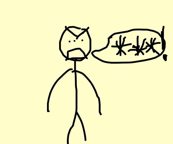 Stickman with 3 eyes cursing