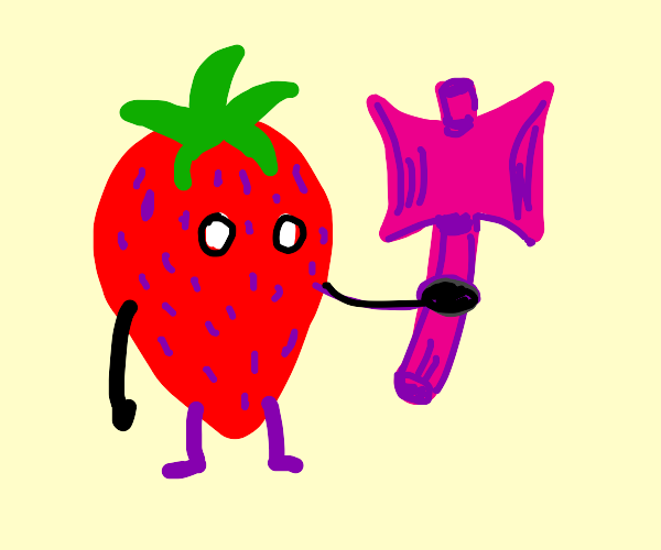 strawberry with pink ax