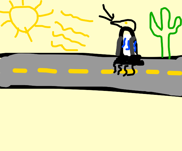Penguin sinking into the Road
