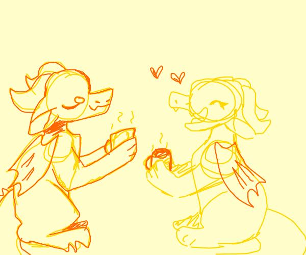 Two dragons having tea