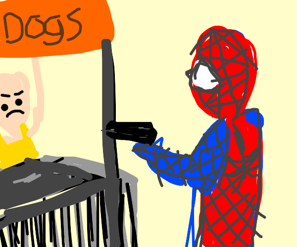 spider man robs a hot dog stand