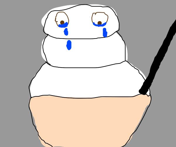 snow/ice cream/ white poop crying