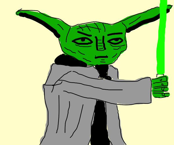 yoda with a  green lightsaber