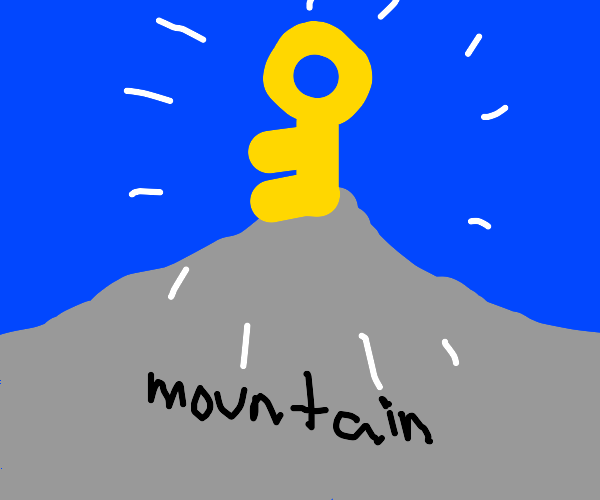 giant key on top of a mountain
